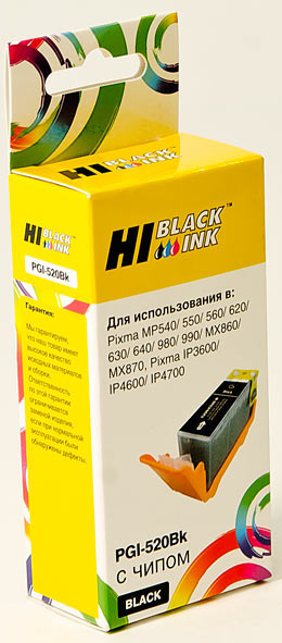Картридж Hi-Black (HB-PGI-520Bk) для Canon PIXMA iP3600/iP4600/MP540, Bk